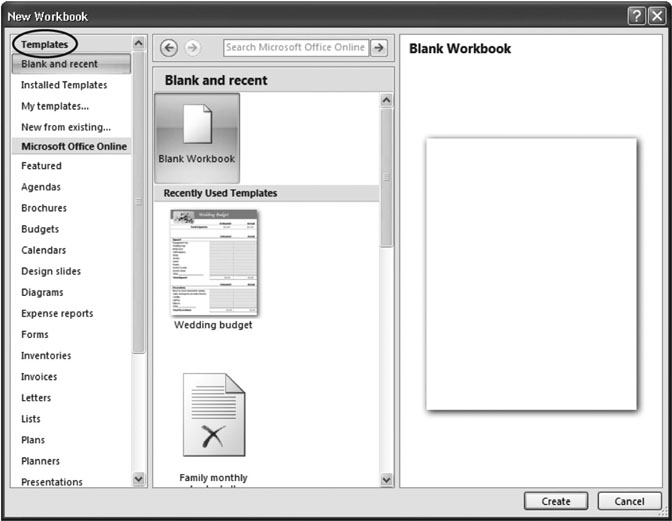16 2 creating a new workbook from a template excel 2007 the