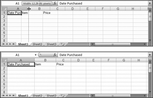 Top: The standard width of an Excel column is 8.43 characters, which hardly allows you to get a word in edgewise. To solve this problem, position your mouse on the right border of the column header you want to expand so that the mouse pointer changes to the resize icon (it looks like a double-headed arrow). Now drag the column border to the right as far as you want. As you drag, a tooltip appears, telling you the character size and pixel width of the column. Both of these pieces of information play the same role—they tell you how wide the column is—only the unit of measurement changes.Bottom: When you release the mouse, the entire column of cells is resized to the new size.