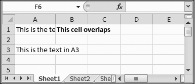 Overlapping cells can create big headaches. For example, if you type a large amount of text into A1, and then you type some text into B1, you see only part of the data in A1 on your worksheet (as shown here). The rest is hidden from view. But if, say, A3 contains a large amount of text and B3 is empty, the content in A3 is displayed over both columns, and you don't have a problem.
