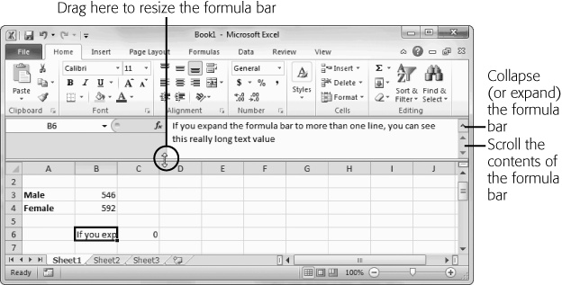 To enlarge the formula bar, click the bottom edge and pull down. You can make it two, three, four, or many more lines large. Best of all, once you get the size you want, you can use the expand/collapse button on the right side of the formula bar to quickly expand it to your preferred size and collapse it back to the single-line view.