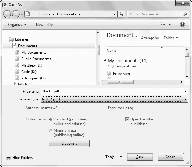PDF files can be saved with different resolution and quality settings (which mostly affect any graphical objects like pictures and charts that you've placed in your workbook). Normally, you use higher quality settings if you're planning to print your PDF file, because printers use higher resolutions than computer monitors.