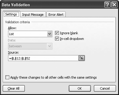 The list validation settings in this dialog box tell Excel to generate a list of product choices drawn from the range of cells indicated in the Source box. See Figure 24-10 for what this looks like on the spreadsheet.