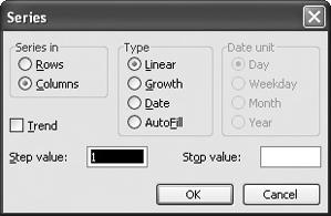 The Series dialog box gives you ful control over the data you enter into your cells.