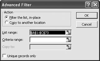 The Advanced Filter dialog box: not nearly as advanced as you might think, and quite useful.