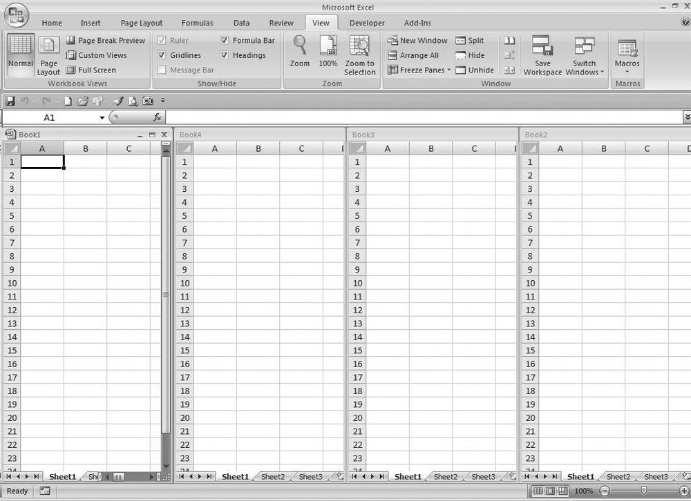1 Reducing Workbook And Worksheet Frustration Excel Hacks 2nd. Four Workbooks In A Vertical View. Worksheet. Worksheet Change Event Slow At Mspartners.co