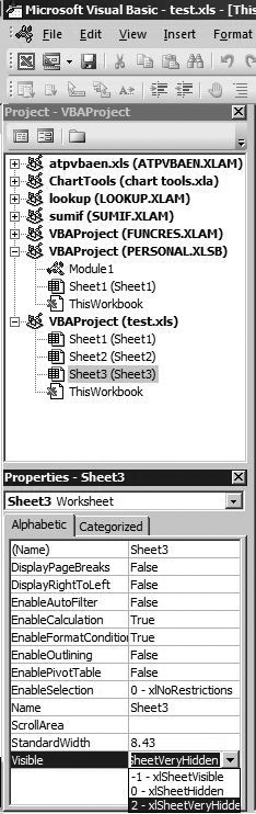 Properties window of a worksheet having its visible property set to 2 - xlSheetVeryHidden