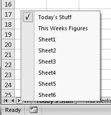 Tabs command bar displayed by right-clicking the sheet scroll tabs