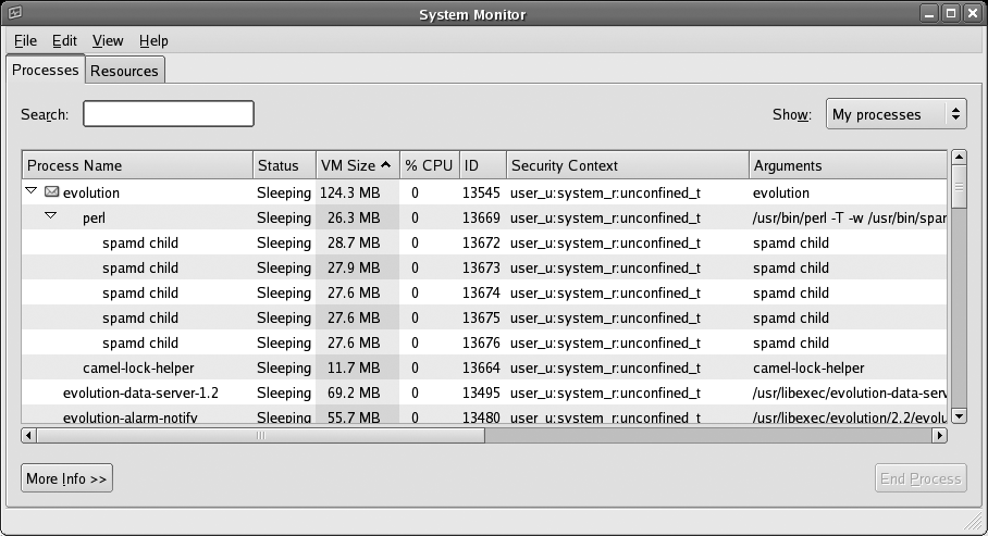 GNOME System Monitor window