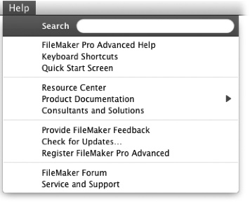 Here's the Help menu on a Mac in its pristine state, and showing its initial menu items. As you type a search term, FileMaker searches its Help application to create a list of choices that may relate to your search terms.
