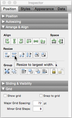 "The Inspector's Arrange and Align tools have icons that indicate their purpose. If you're not sure which tool to use, point to a tool to see the tool's pop-up tooltip. Here the mouse is pointing to the ""Resize to largest width"" tool. If you get unexpected results, just choose the Edit→Undo Resize command, and all your objects return to their original sizes."