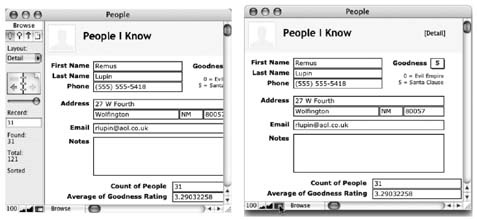 Unlike the stark emptiness shown in Figure 1-1, this database is well underway, as you can see by the abundance of the content area. Left: The status area is part of all FileMaker databases, regardless of what they contain. Right: Maximize your view of the content area by hiding the status area with a simple click on its control.
