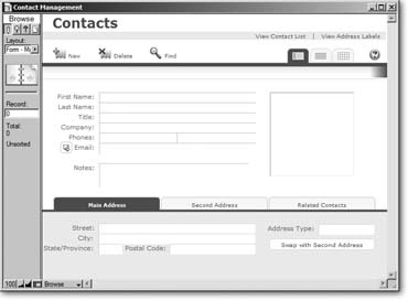 The Contact Management template is an ideal way to create a simple database that contains information about people, like their names, email addresses, and phone numbers. It can hold up to two addresses for each person, and you can even store a picture with each contact—a handy feature if you have trouble putting a face to a name.