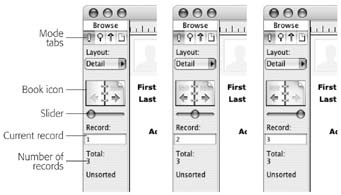 The status area is the key to record navigation. In addition to displaying the controls for switching records, the status area indicates where you are in the database. This series of pictures, for example, shows the status area when you're on the first record in the database (left), a record in the middle of the database (middle), and the last record (right). Notice how the appearance of the Book icon and slider changes in each picture.