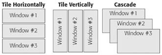 FileMaker offers three automatic window arrangements: Tile Horizontally, Tile Vertically, and Cascade. Choose Tile Horizontally or Tile Vertically to shrink every window small enough that they all fit onscreen with no overlapping. (The difference between these two is subtle: The Horizontal option prefers wide windows while the Vertical options tries to make windows taller.) If you choose Cascade, FileMaker makes every window the same size and puts each a little down-and-right from the one above. The window that was active when you chose Cascade lands in front.