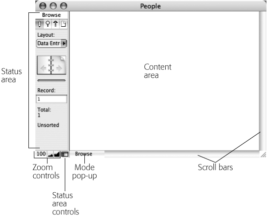 Every database window has the same apparatus around the edges—what's inside the window is up to you. Compare this window with the one shown in , left. Both windows have a status area, zoom controls, and a Mode pop-up menu. The content is the only difference.