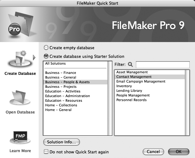 12 creating a new database filemaker pro 9 the missing manual to choose one of filemaker pros built in starter solutions click the pop friedricerecipe Image collections