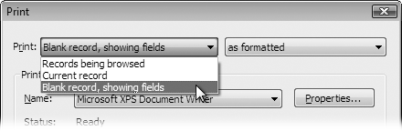 FileMaker's Print dialog box gives you all the standard options, plus a little more. The Print pop-up menu (at the top in the dialog box in Windows) lets you tell FileMaker which records to print.