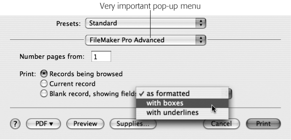 "On Mac OS X, FileMaker's special print options are tucked away in a secret place. You have to choose FileMaker Pro or FileMaker Pro Advanced from this unnamed but very important pop-up menu. In this example, you can see the field styles you can pick from if you elect to print a ""Blank record, showing fields."""