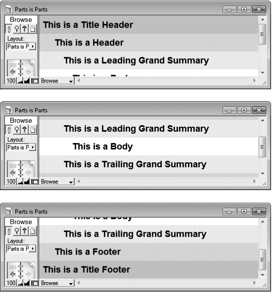 This series of images shows the same layout in form view as you scroll. In the top image, the window is scrolled all the way to the top.Middle: It's scrolled halfway down the layout.Bottom: Finally, you can see the layout scrolled all the way to the bottom. In form view, the entire layout, including all parts, scrolls as one unit.