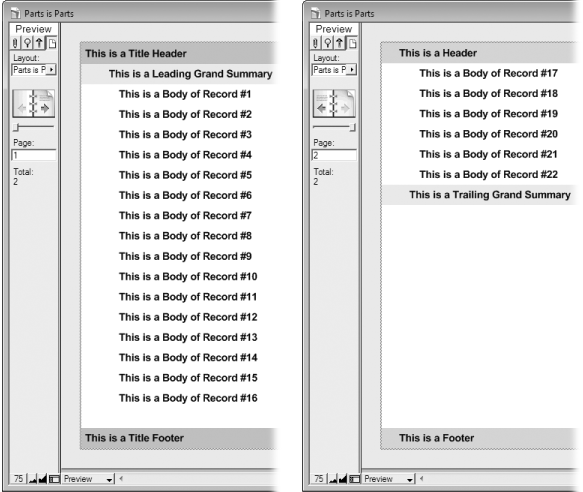 Left: In Preview mode, the title header and footer are at the top and bottom of the first page. The leading grand summary appears right before the first record, and FileMaker adds a copy of the body for every record until it fills up the page.Right: Every page thereafter shows the header and footer instead of the title header and footer. If you don't have a title header, you'll get the regular header on the first page, too (and the same goes for the title footer). Also notice that the trailing grand summary appears after the last record. This time it does not fill all the remaining space. Instead, its height matches the height you gave it on the layout.