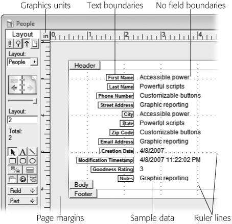 In this picture, the graphic rulers, ruler lines, text boundaries, page margins, and sample data have been turned on; and field boundaries have been turned off. You can compare this illustration with to see how things have changed. You decide which settings you use, according to your personal preference. And you can turn any of them off or on with ease, so feel free to experiment.