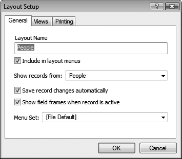 "The Layout Setup dialog box (Layouts → Layout Setup) gives you control over the layout's basic attributes. Under the General tab you can change the layout's name, for example. The ""Show records from"" pop-up menu controls which table the layout is connected to. Since your database only has one table, you don't have to worry about this option just yet. It's covered in full in Part 4."