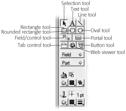 These are the drawing tools. In this picture, the selection tool is active (it appears pressed down). To choose a different tool, click it. Once active, you can click or drag on the layout to draw a shape or add some text. When you release the mouse button, FileMaker automatically activates the selection tool again.