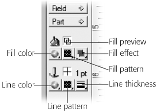 The fill and line tools are labeled here. Each one controls a certain aspect of the look of an object on the layout. You can see the cumulative effect of the choices you make in the Fill Preview and Line Preview displays.