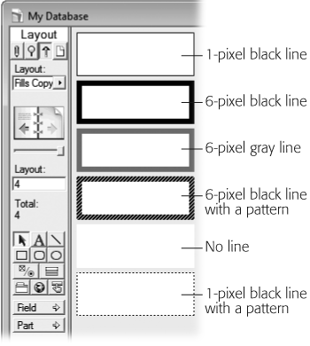 Here you can see the same rectangles with various line styles. When you adjust the line color, pattern, and thickness, you can get effects, from no line at all to a dashed line, to a thick black line. You can apply line effects to shapes, lines, and fields with borders.