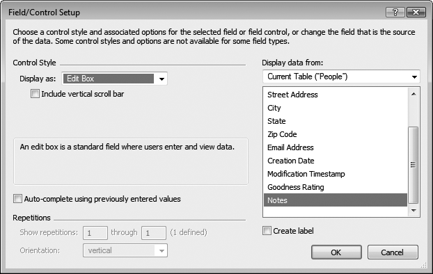 The Field/Control Setup dialog box (Format → Field/Control → Setup) lets you control how a field presents itself on the layout. You can add scroll bars, control the display of repeating fields, and—most useful of all—turn ordinary fields into pop-up menus, checkboxes, or radio buttons. All of these advanced options are covered in detail in .