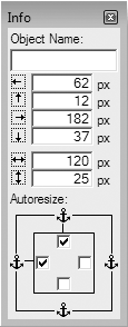 The bottom half of the Object Info palette is devoted to the Autoresize settings. The four checkboxes tell FileMaker to anchor the object to the corresponding side of the window (notice the little anchor icons). Right now, all the objects on your layout are anchored at the top and left. In other words, their distance from the top and left edges of the window never changes, even as the window gets bigger.