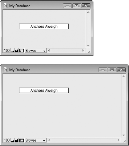 Top: The one field on this layout is anchored to the top and left of the window (according to its factory settings in the Object Info palette).Bottom: When you make the window larger, FileMaker keeps the top edge of the object the same distance from the top of the window. The left edge holds its place compared to the left side of the window as well.