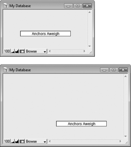 Top: This time the same object as in is anchored on the bottom and right instead.Bottom: Enlarging the window shows a very different result. FileMaker moves the object down and to the right to ensure that it keeps a constant distance from its anchored edges.
