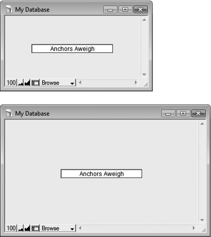 Top: There's so much you can do with the Object Info palette's anchor checkboxes, you might forget you can turn them off altogether. In this window, the field has no anchors at all. Notice that it's positioned right in the middle of the layout.Bottom: When the window gets bigger, FileMaker keeps the relative position of the object the same. Since it was in the middle before, it stays in the middle of the bigger window.