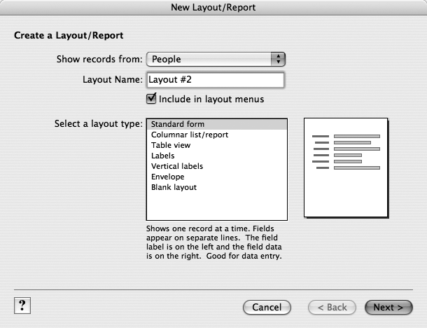 The New Layout/Report dialog box (Layout → New Layout/Report) is the starting point for layout creation. Most importantly, you get to decide what type of layout you want. If you pick any type other than Blank layout, FileMaker does some of the initial busywork for you. For help, click the Question Mark icon at bottom-left.