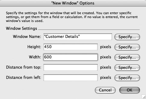The Window Options dialog box lets your script open and close windows and move them around the screen. You can use it to make annoying coworkers think they have poltergeists in their PCs, or just make windows behave properly when your scripts run. See the box on for advice.