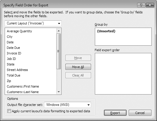 When FileMaker exports the data, it includes each field in this list in the export file. The order of the fields in this list determines their order in the export file, and you can change it by dragging fields up or down in the list. To add every field in the field list to the field export order list, click Move All. Likewise, to remove all fields from the export order, click Clear All.