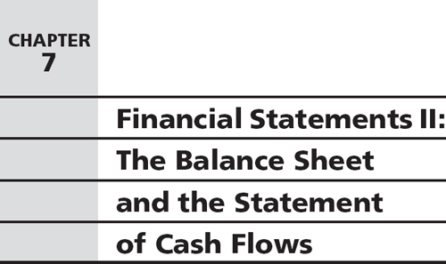 chapter 7 financial statements ii the balance sheet and the