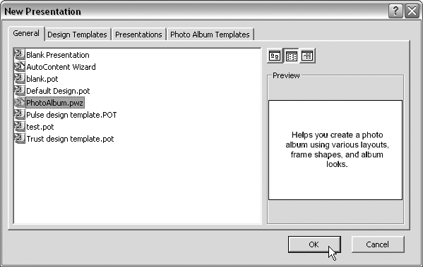 To use Photo Album in PowerPoint 2000, you must go to File → New and choose the Photo Album Wizard from the General tab.