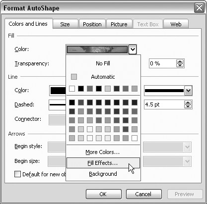 To replace an AutoShape fill, choose Fill Effects from the Color drop-down menu.