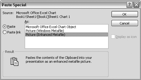 The Paste Special dialog box lets you specify what format you want to paste.
