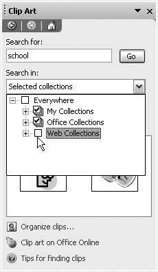 "Deselecting Web Collections in the ""Search in"" section of the Clip Art task pane will restrict your search to your hard drive."