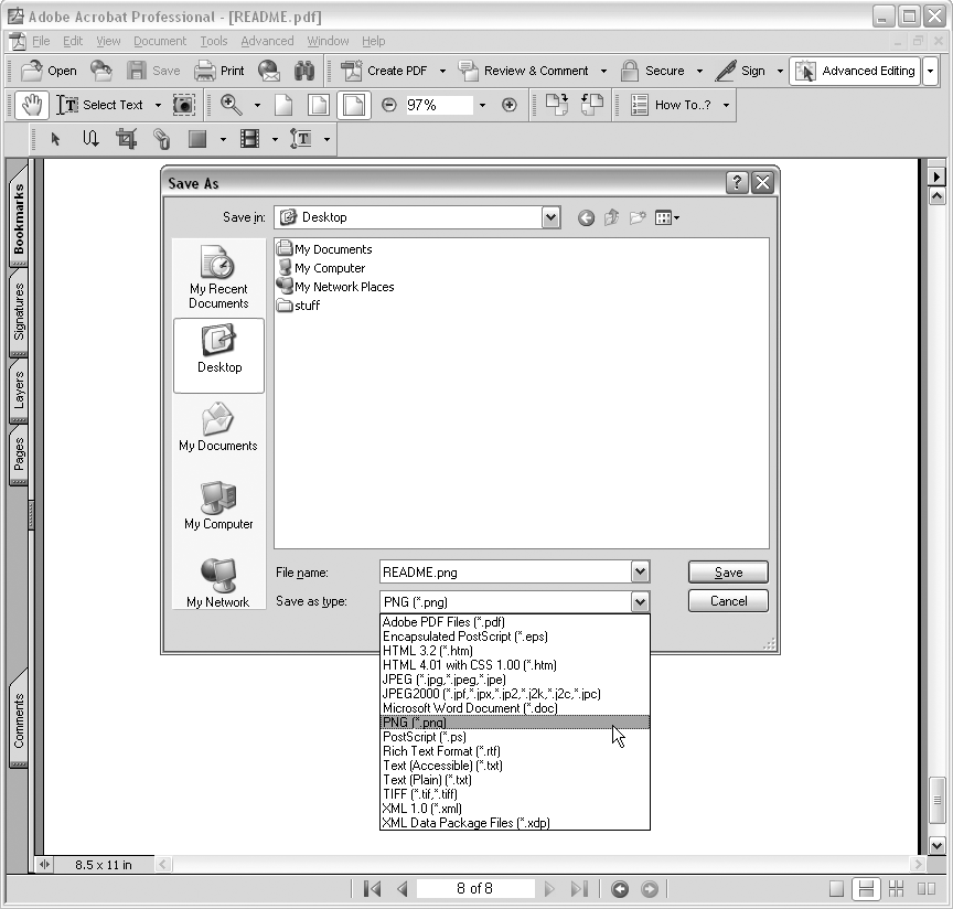 In the full version of Adobe Acrobat (but not in the free Adobe Reader), you can choose an image type to save the pages of the PDF as individual images.