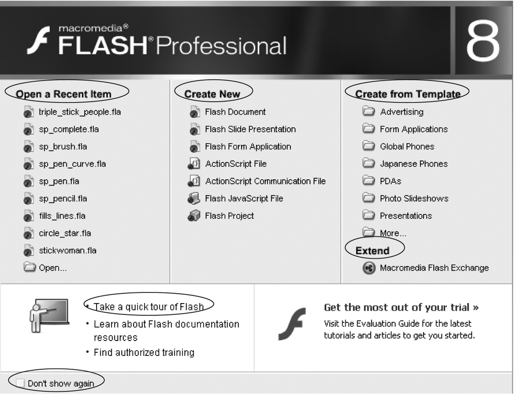 This start page appears the first time you launch Flash—and every subsequent time, too, unless you turn on the Don't Show Again checkbox (circled). If you ever miss the convenience of seeing all your recent Flash documents, built-in templates, and other options in one place, you can turn it back on by choosing Edit → Preferences (Windows) or Flash → Preferences (Mac). On the General panel, choose Show Start Page from the On Launch pop-up menu.