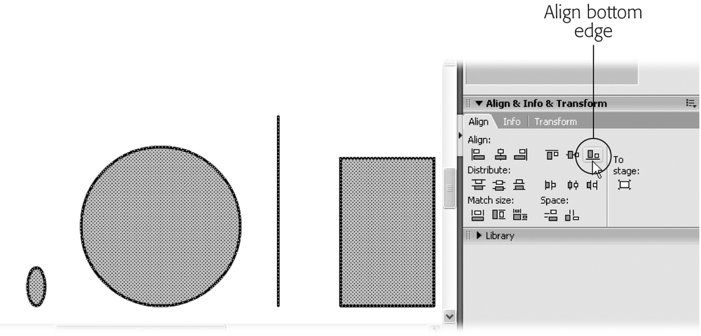 The Align panel gives you the opportunity to align a single object (or whole groups of selected objects) along the left side of the Stage, the right side, the top, the bottom, and more. Make sure you select the objects you want to align first; then click the alignment icon from the Align panel.