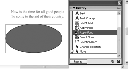 When you move your mouse over one of the changes, Flash pops up a helpful detailed description of the change. To revert to an earlier version of your file, drag the slider until it's next to the last change you want to appear. To replay one or more changes, select the changes you want to replay and press Replay. If you do want to revert to an earlier version of your file, don't put it off: every time you close the file, Flash erases the file's history.