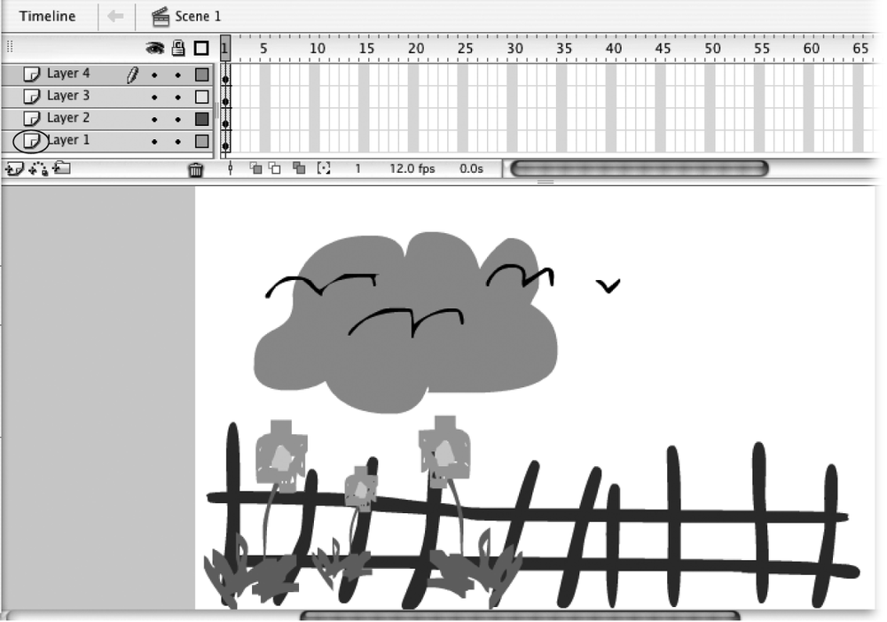 Here's what the composite drawing for Frame 1 looks like: the fence, the flowers, the cloud, and the birds, all together on one Stage. Notice the display order: The flowers (Layer 2) appear in front of the fence (Layer 1), and the birds (Layer 4) in front of the cloud (Layer 3). Flash automatically displays the layer at the bottom of the list first (Layer 1), followed by the next layer up (Layer 2), followed by the next layer (Layer 3), and so on. But you can change this stacking order, as you see on Section 4.4.3.