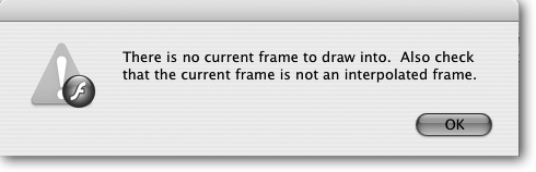 If you try to draw on the Stage when you've selected a folder instead of a layer, Flash lets you know in no uncertain terms. (An interpolated frame's a tweened frame; as you learn in Chapter 3, you can't place images in a tweened frame, either.)