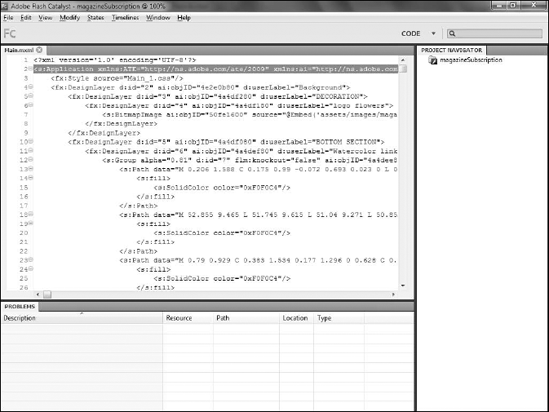 The Code workspace in Flash Catalyst