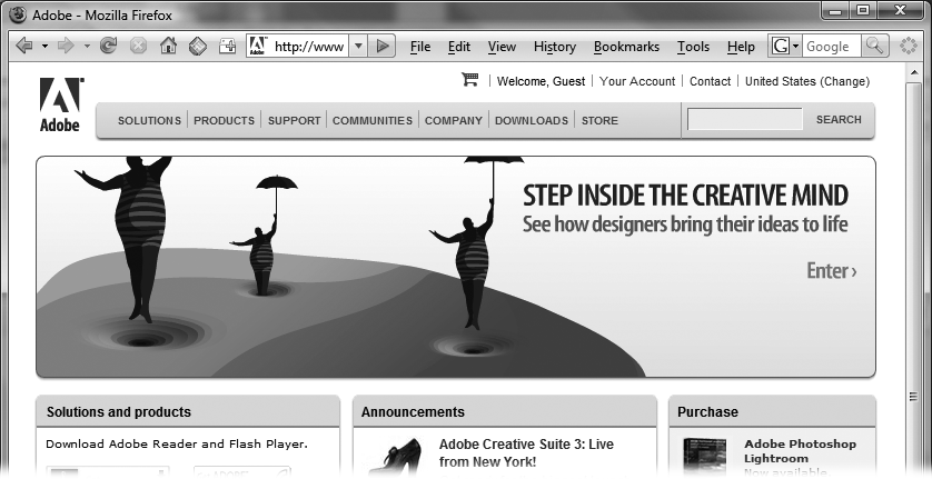 Over half of the banner ads you run across on the Web were produced using Flash. The best ones combine creativity with action. Here, Magritte-like characters float up into the air, suspended from their umbrellas. Clicking the banner zips you to a different Web page, where you can place an order online.